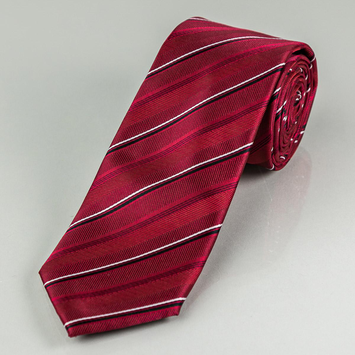 Kravata pánská AMJ proužkovaná KU1059, červená