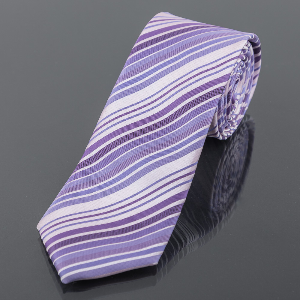 Kravata pánská AMJ proužkovaná KU1204, fialová