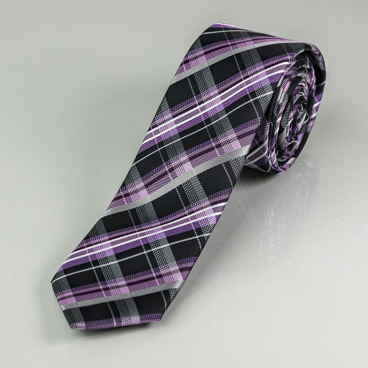 Kravata pánská AMJ úzká károvaná KI0311, fialová
