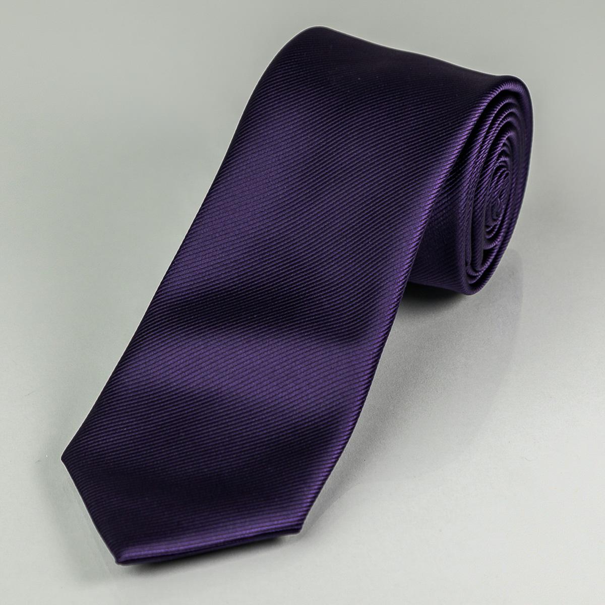 Kravata pánská AMJ proužkovaná KU0019, tmavě fialová