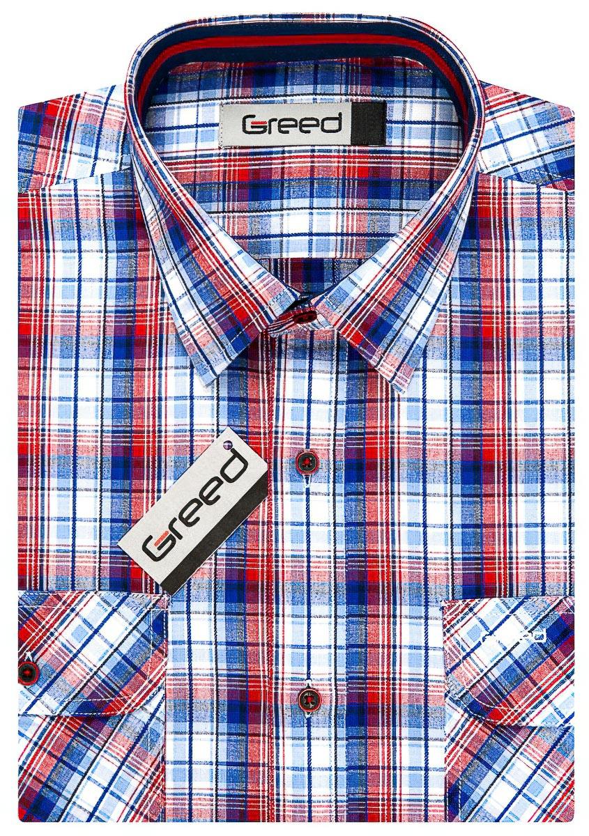 Pánská sportovní košile GREED modro-červené kárko SK342, krátký rukáv