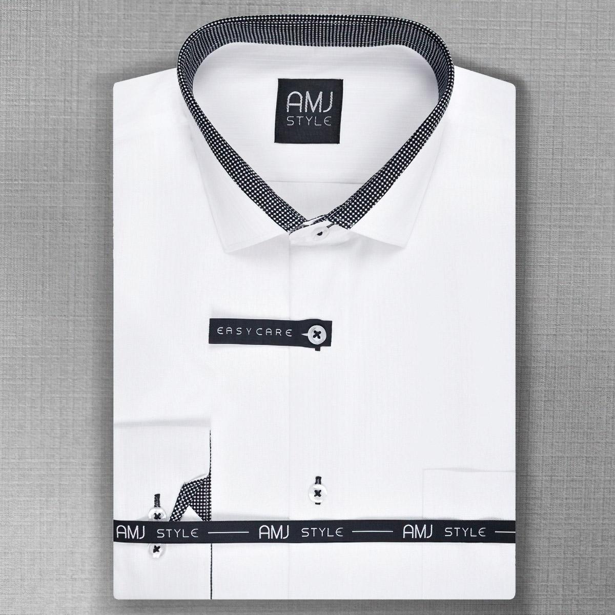 Pánská košile AMJ bílá VDZ805, dlouhý rukáv