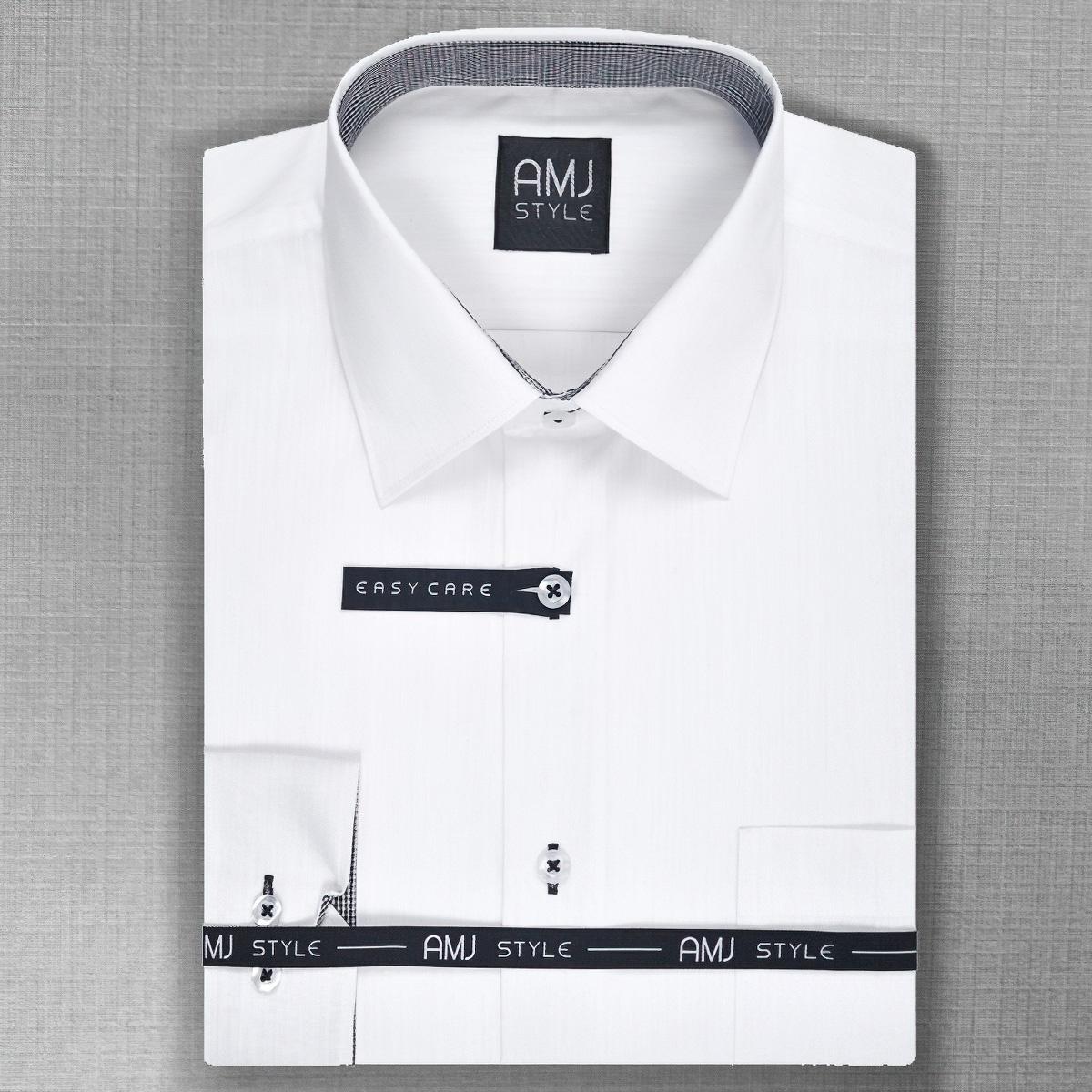 Pánská košile AMJ bílá VDR806, dlouhý rukáv