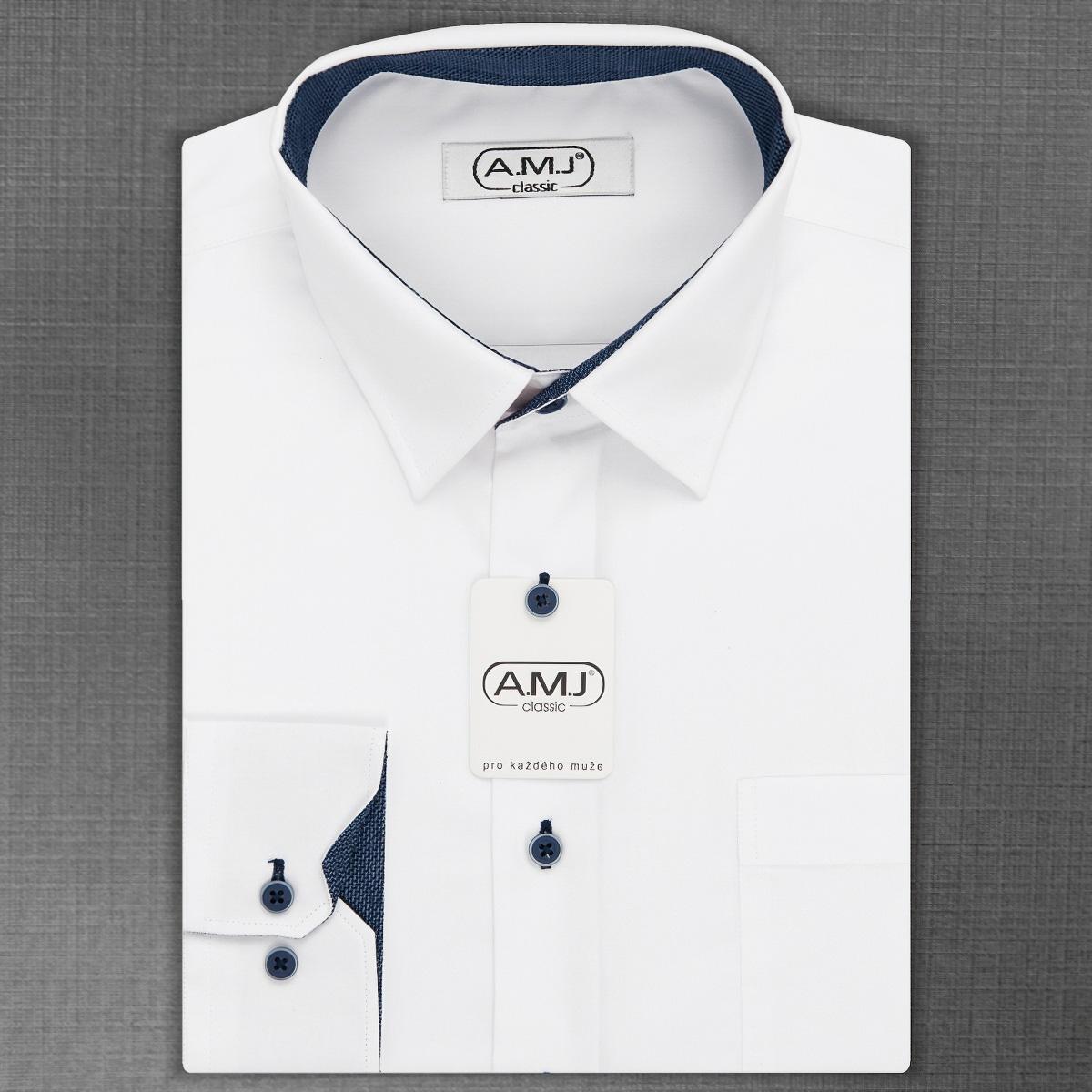 Pánská košile AMJ jednobarevná JDR18/15, bílá, dlouhý rukáv