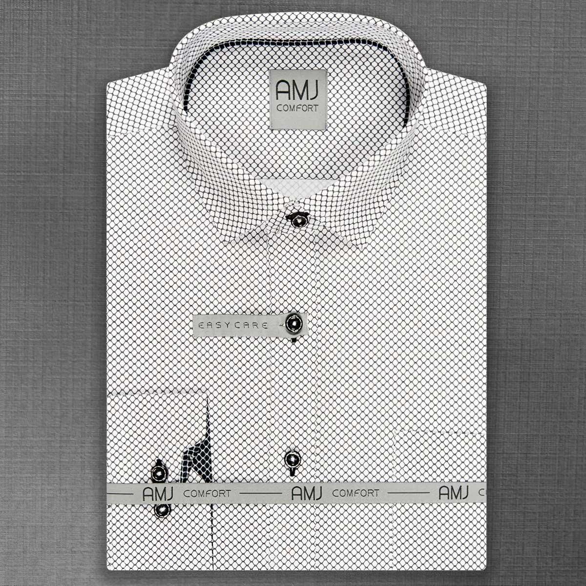 Pánská košile AMJ bavlněná, síťovaný černý vzor na bílé VDBL861, dlouhý rukáv