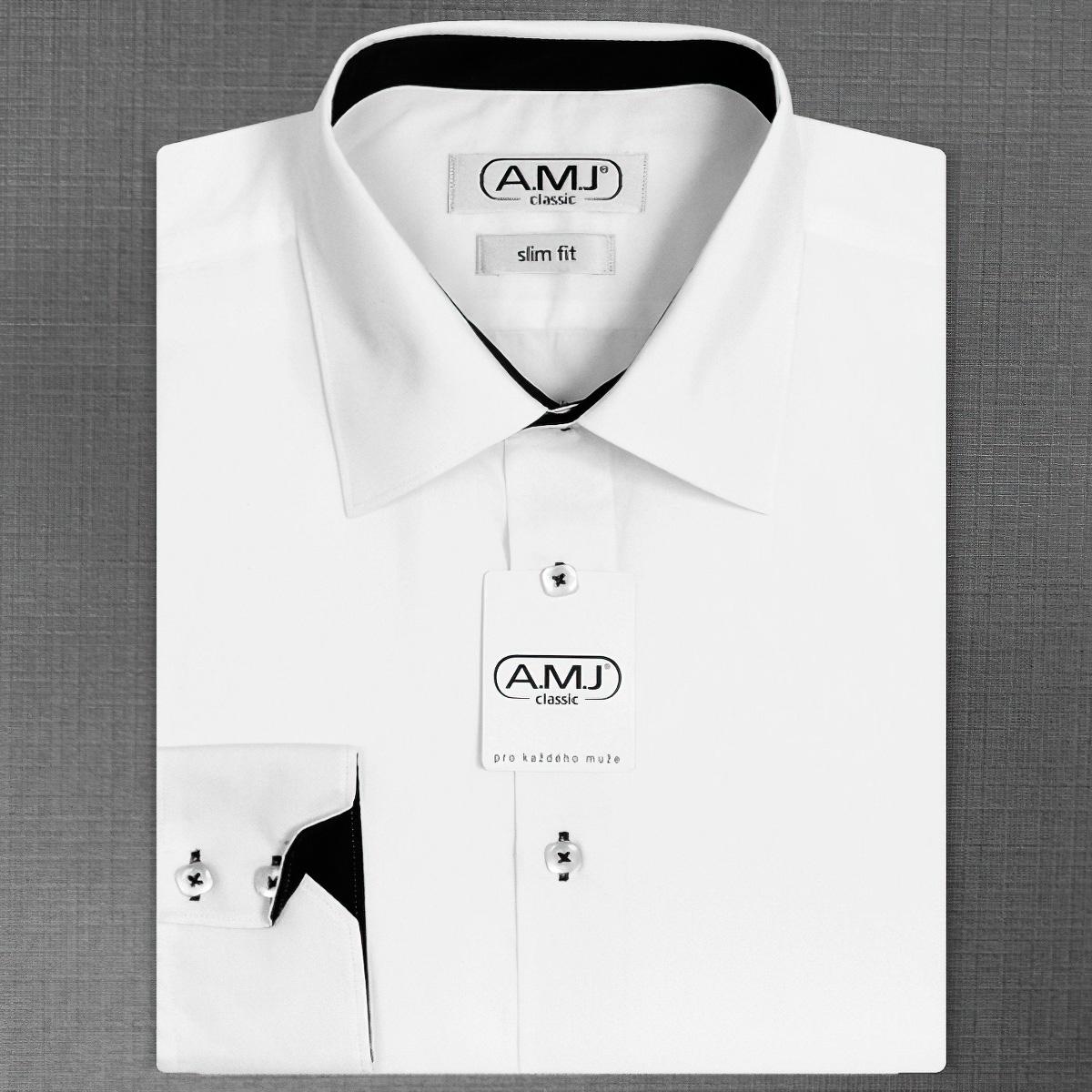 Pánská košile AMJ jednobarevná JDSR018Č, bílá, dlouhý rukáv, slim fit