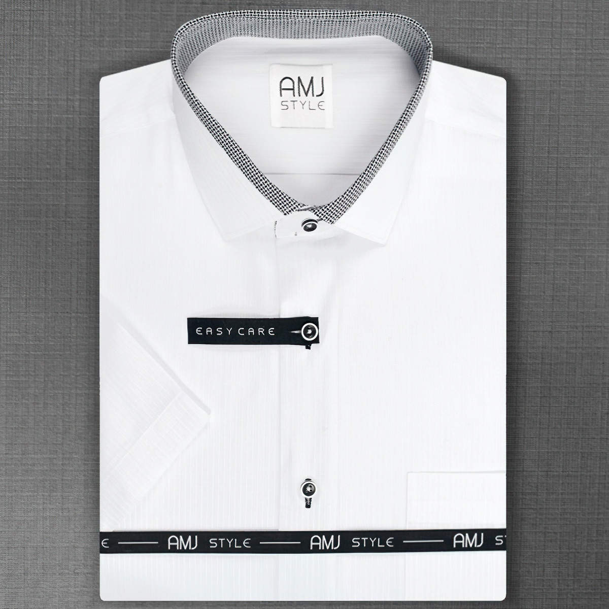 Pánská košile AMJ bílá VKZ807, krátký rukáv