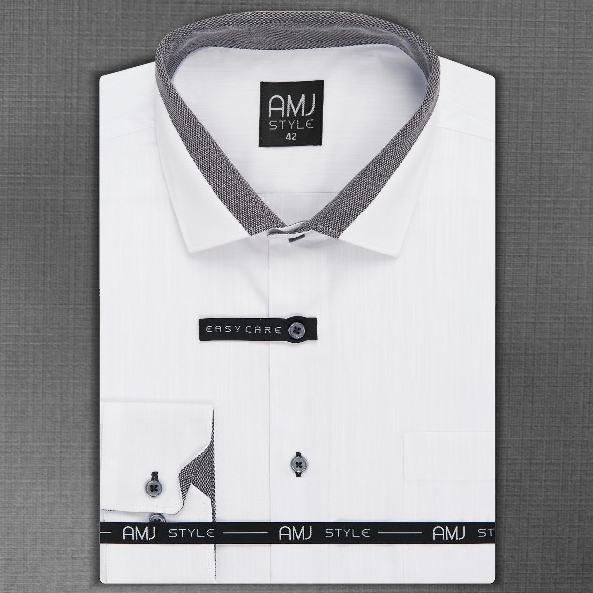 Pánská košile AMJ bílá jemný proužek VDZ943, dlouhý rukáv