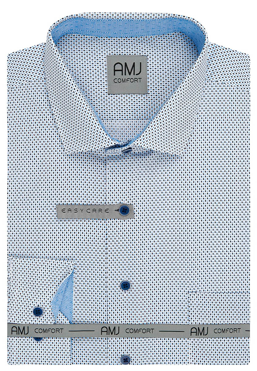 Pánská košile AMJ bavlněná, modrá puntíkovaná VDBR953, dlouhý rukáv
