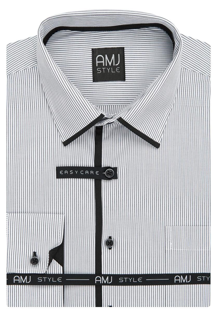 Pánská košile AMJ bílá proužkovaná VDZ936, dlouhý rukáv