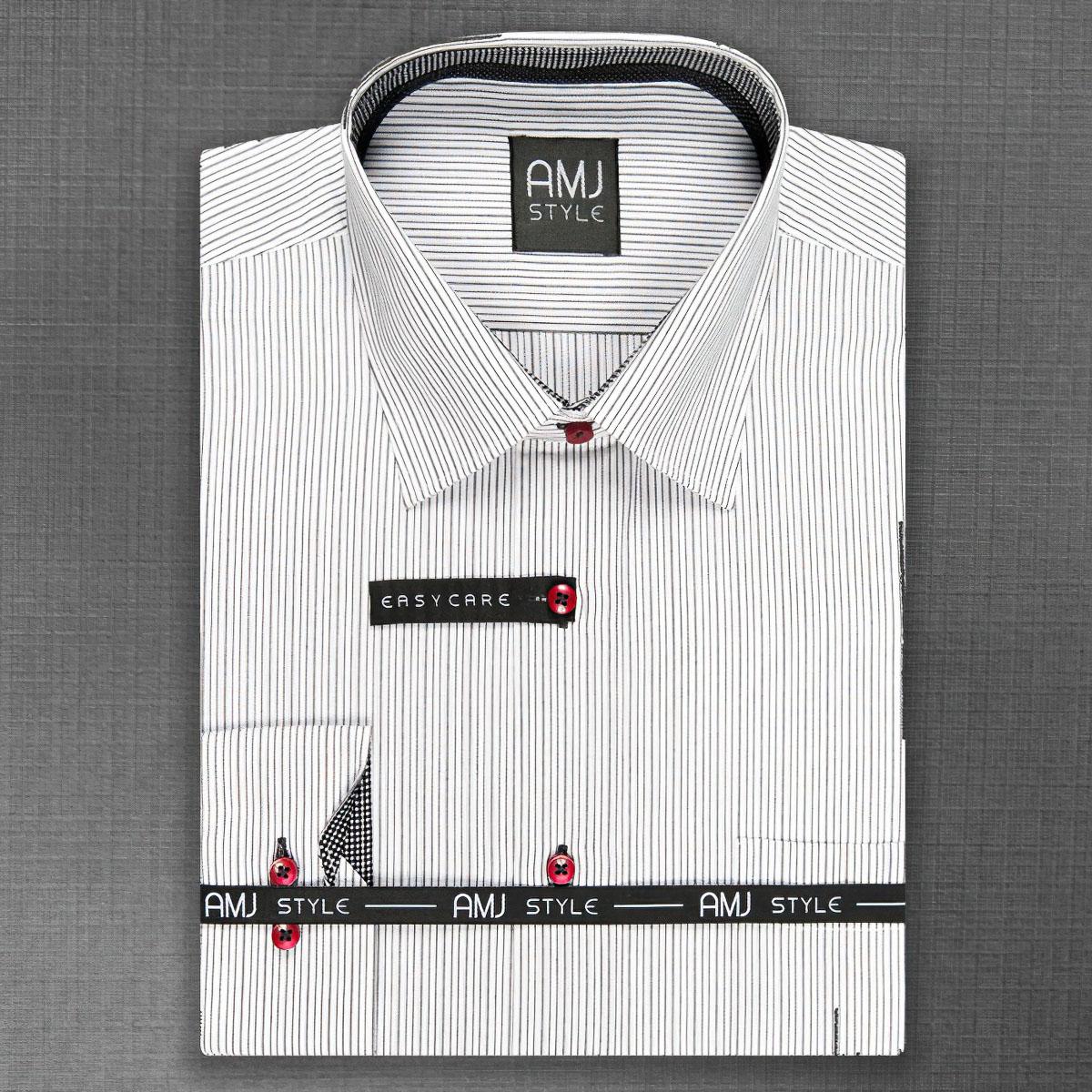 Pánská košile AMJ bílá s černými proužky VDL774, dlouhý rukáv