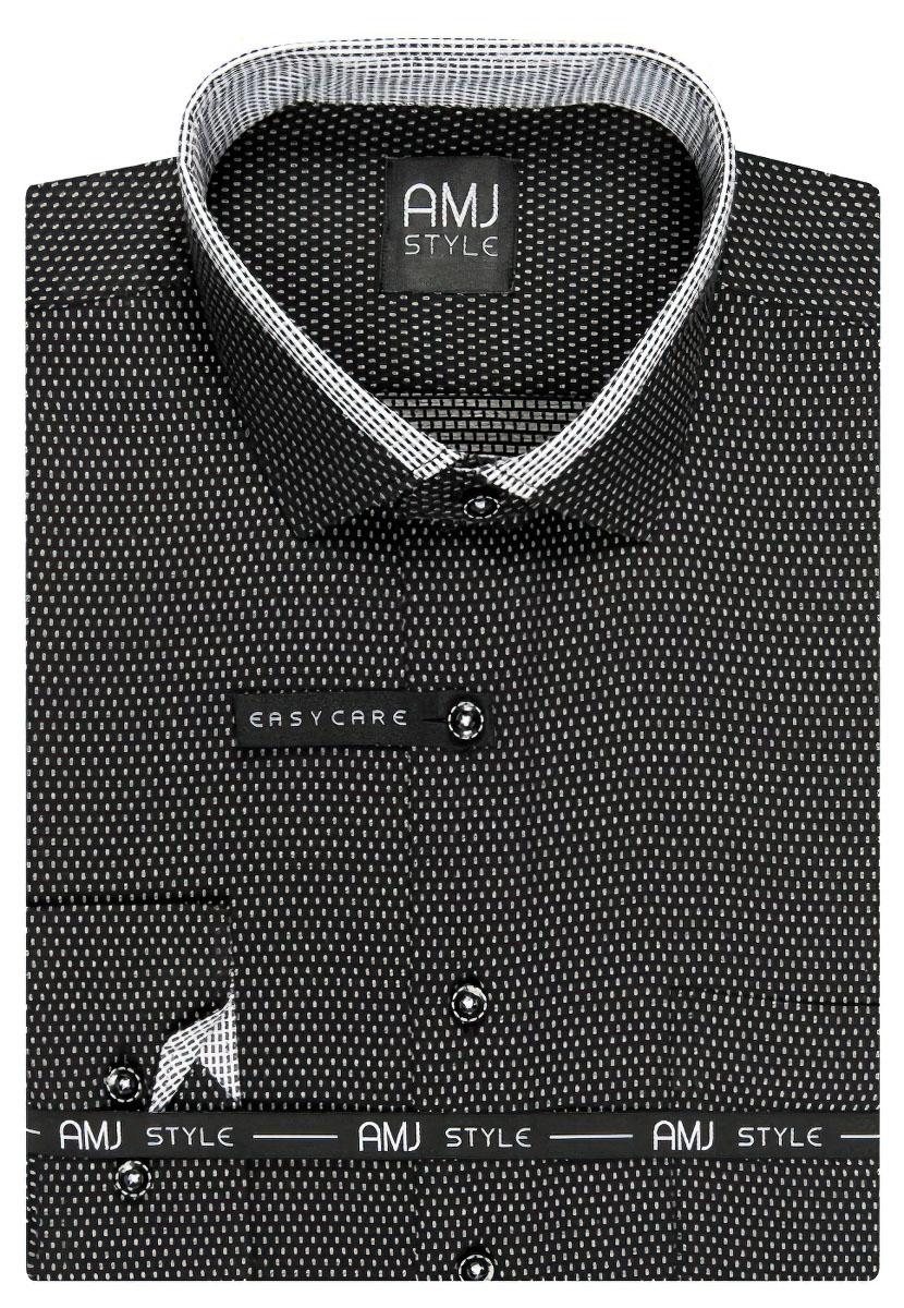 Pánská košile AMJ černá čárkovaná VDPSZ846, dlouhý rukáv, prodloužená délka, slim fit