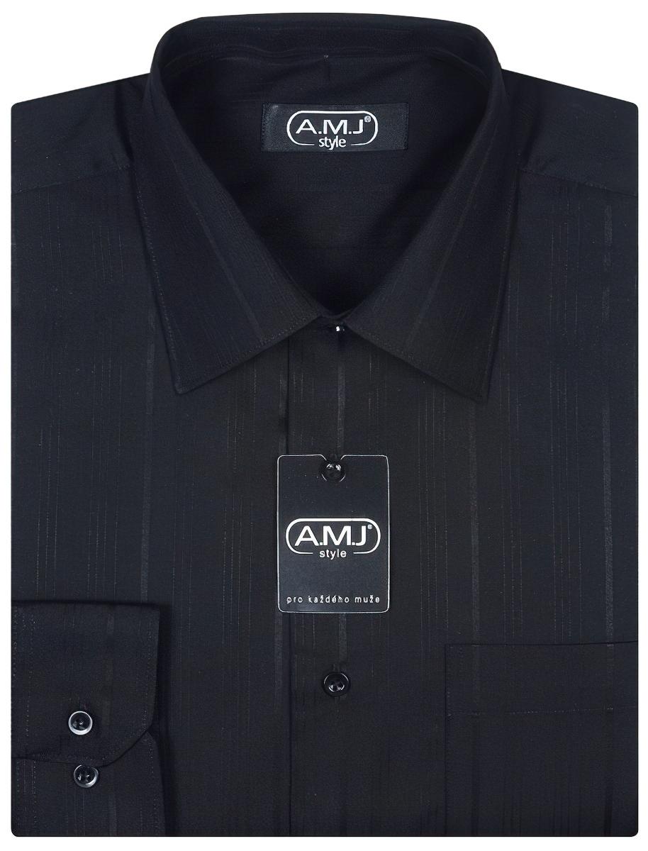 Pánská košile AMJ vzorovaná VDP425, dlouhý rukáv, prodloužená délka