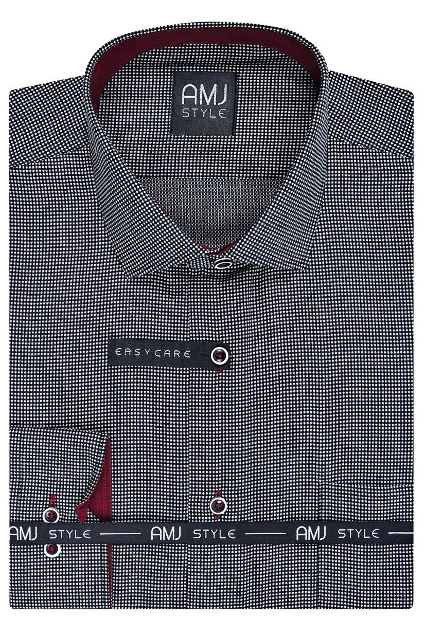 Pánská košile AMJ vzorovaná VDPR773 dlouhý rukáv, prodloužená délka