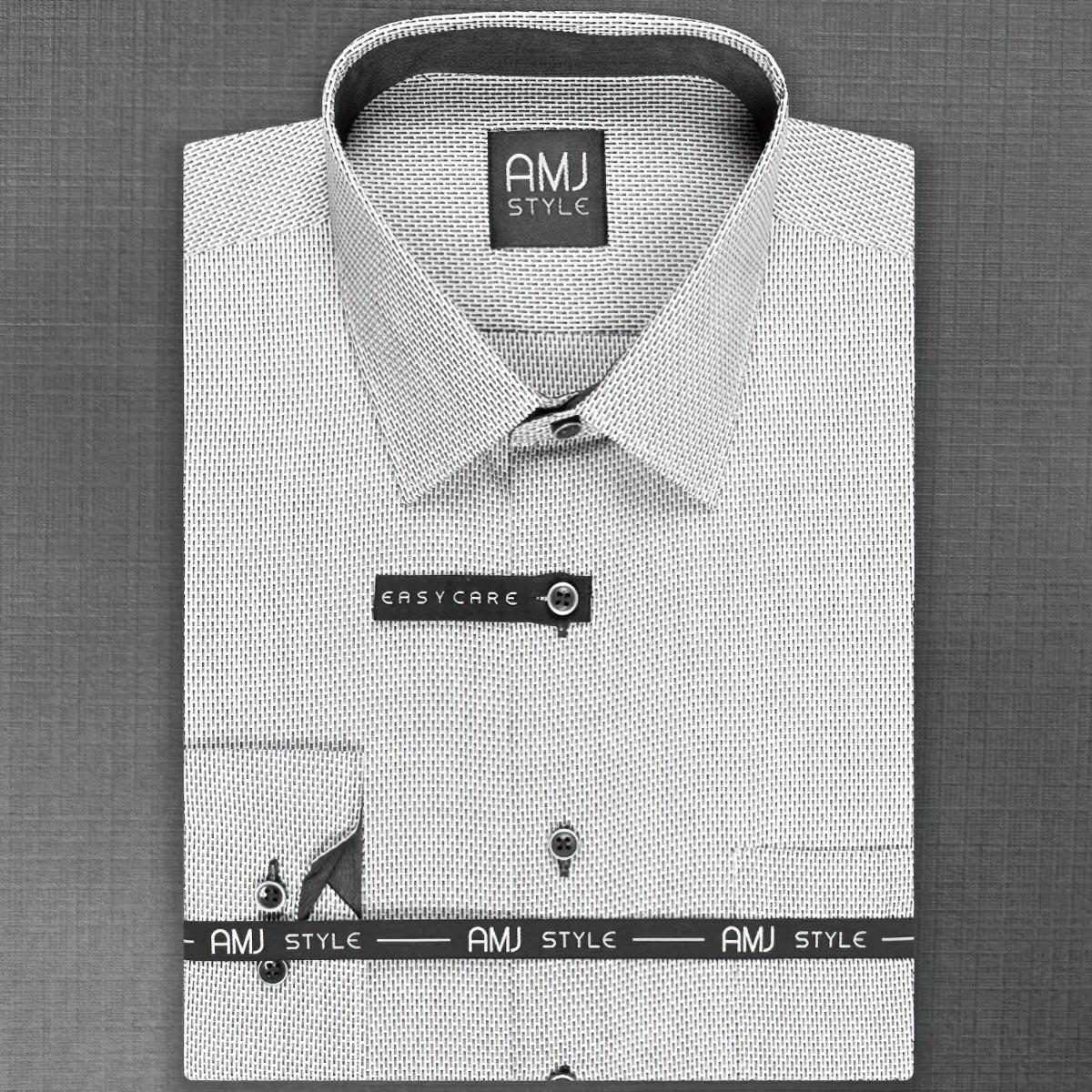 Pánská košile AMJ bílá s obdélníčky VDPR848 dlouhý rukáv, prodloužená délka