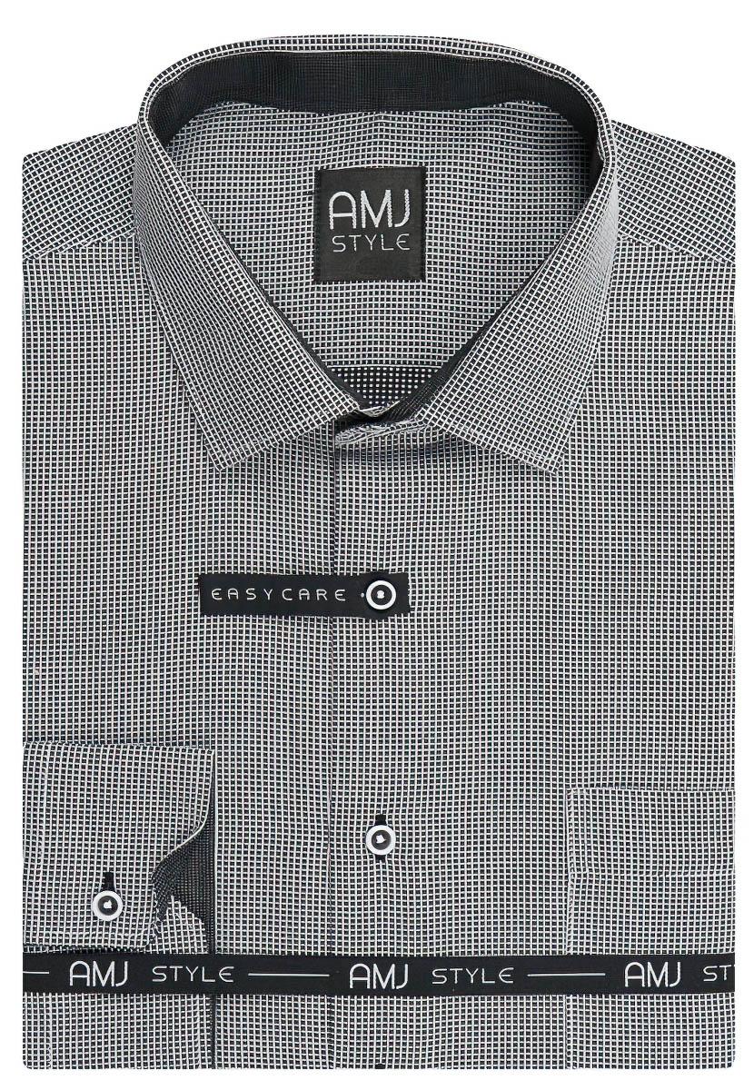 Pánská košile AMJ černá kostičkovaná VDR940, dlouhý rukáv