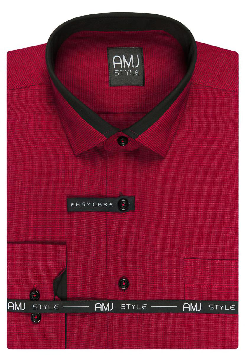 Pánská košile AMJ červená s černým vzorem VDPSZ865, dlouhý rukáv, prodloužená délka, slim fit