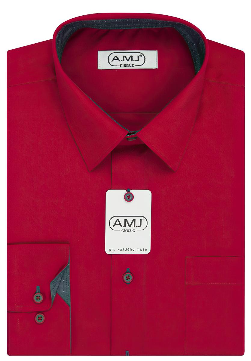Pánská košile AMJ jednobarevná JDPSR104/12, červená, dlouhý rukáv, prodloužená délka, slim fit