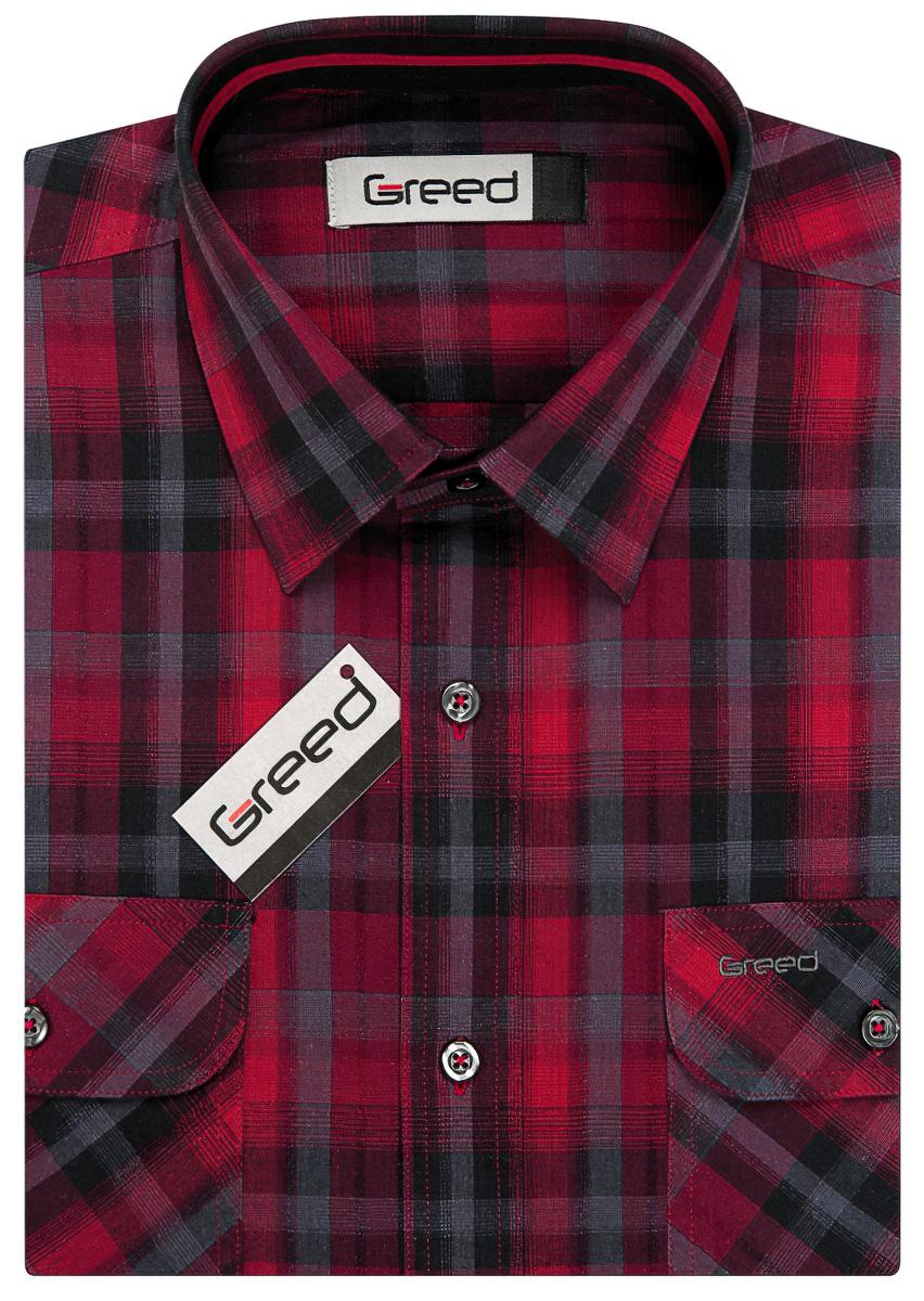 Pánská sportovní košile GREED červeno-šedé kárko SK344, krátký rukáv