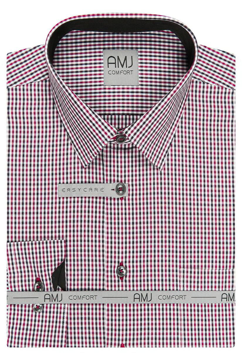 Pánská košile AMJ bavlněná, červeno-černo-bílé kostičky VDBPSR859, dlouhý rukáv, slim fit, prodloužená délka