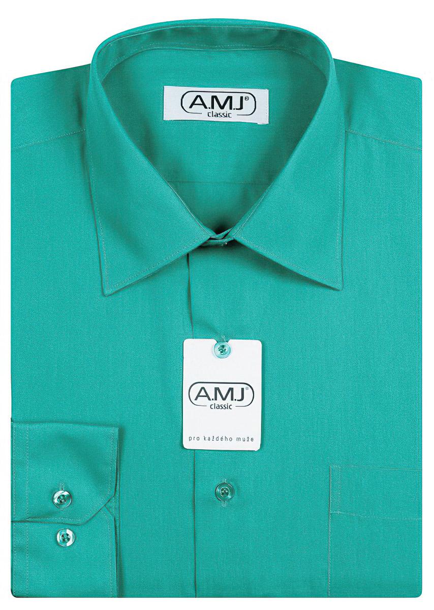 Pánská košile AMJ jednobarevná JD091, petrolejová, dlouhý rukáv