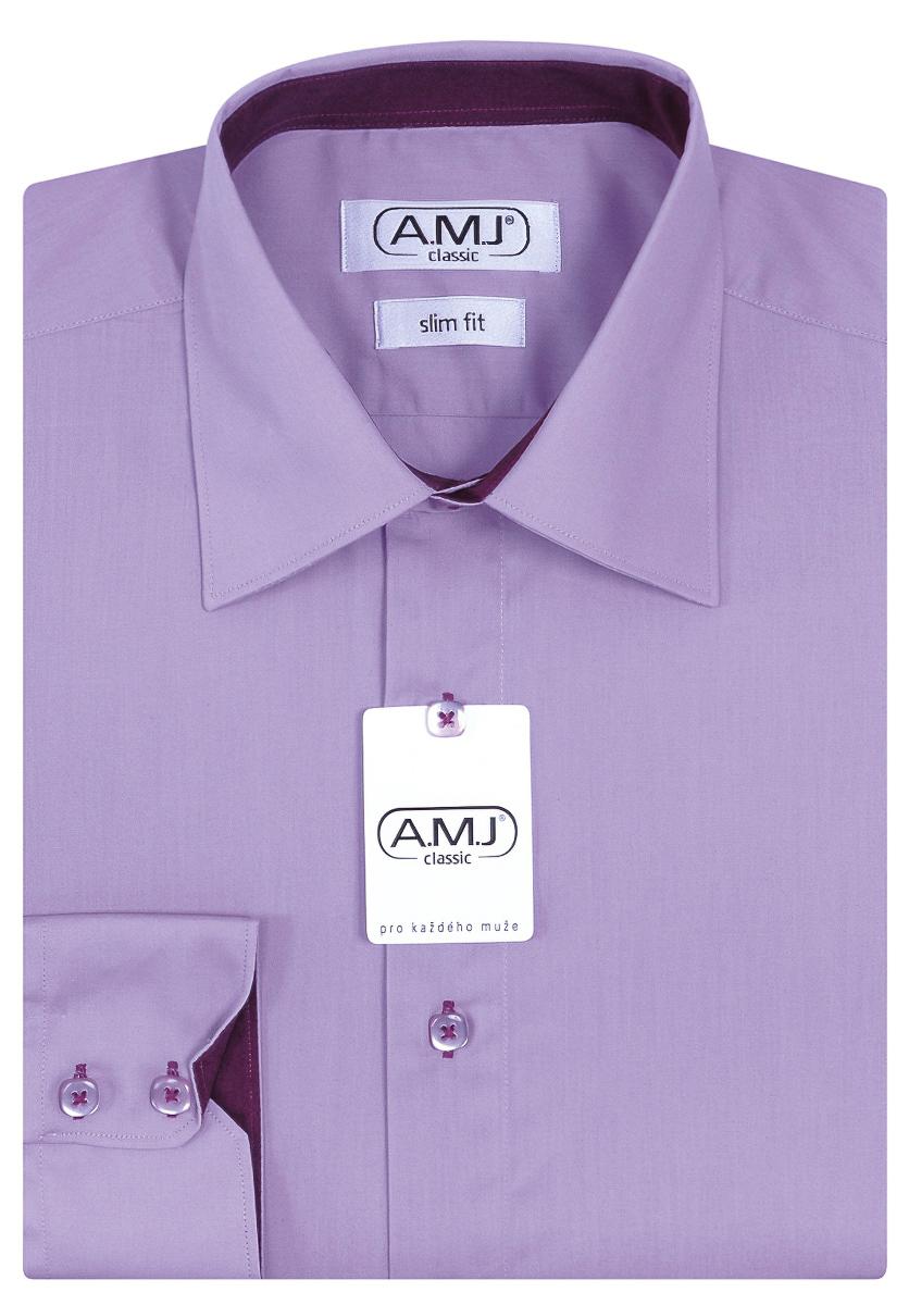 Pánská košile AMJ jednobarevná JDPSR62, fialová, dlouhý rukáv, prodloužená délka, slim fit