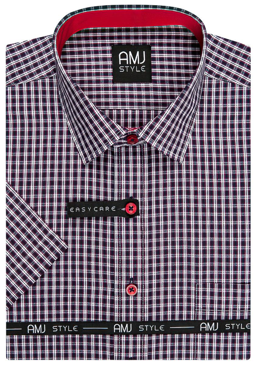 Pánská košile AMJ fialová kostičkovaná VKR887, krátký rukáv