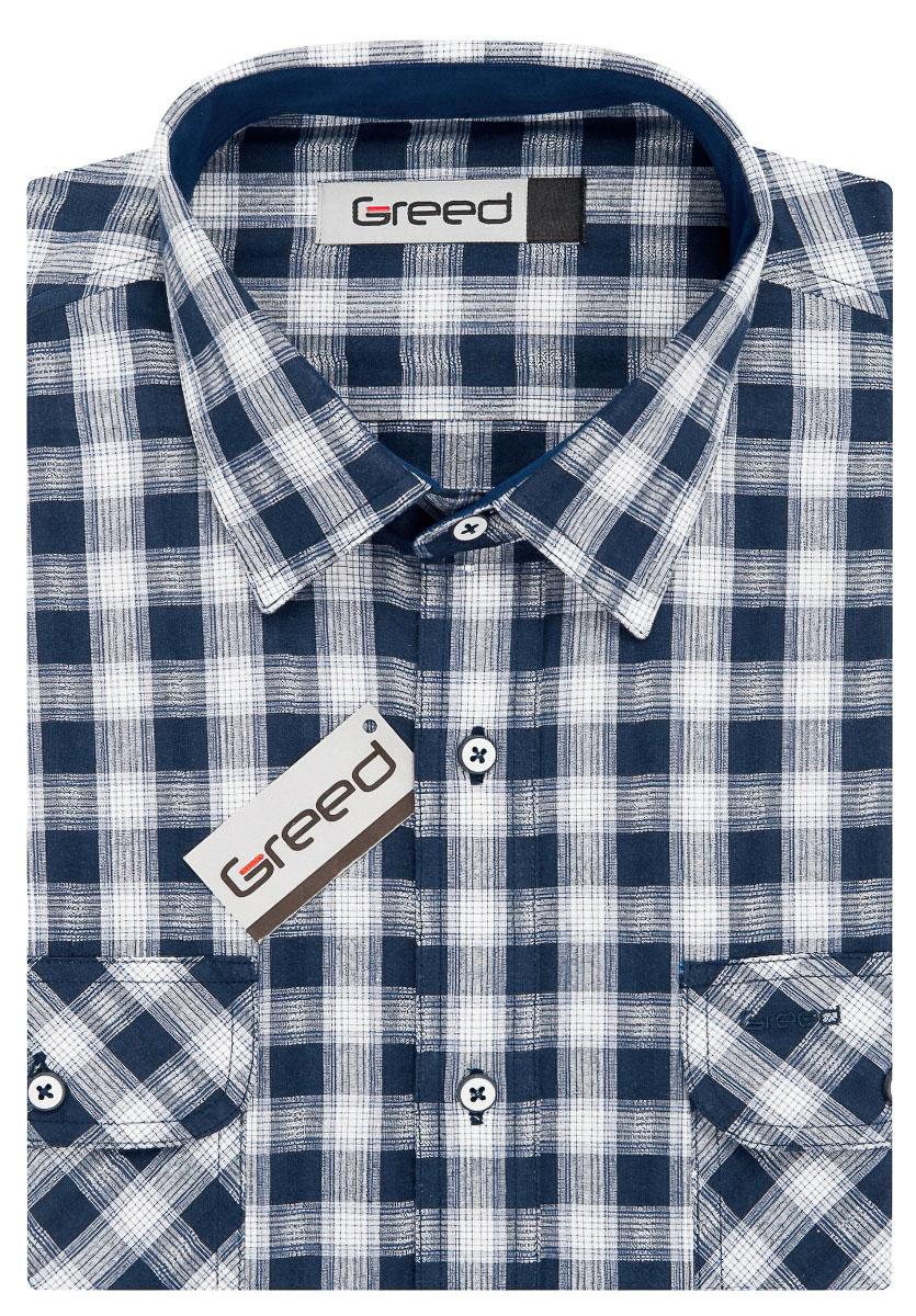 Pánská košile GREED sportovní modrá károvaná SD345, dlouhý rukáv