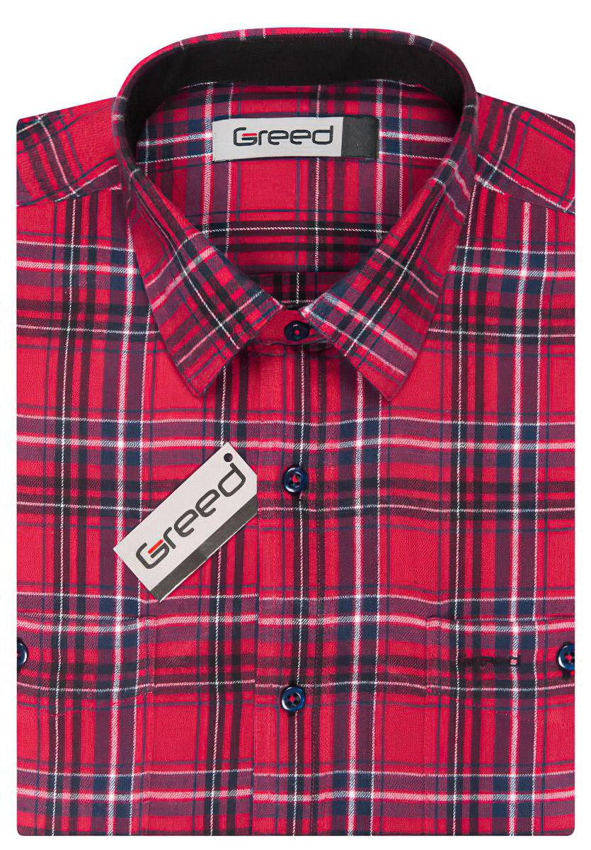 Pánská košile GREED flanelová červená károvaná SDF336, dlouhý rukáv