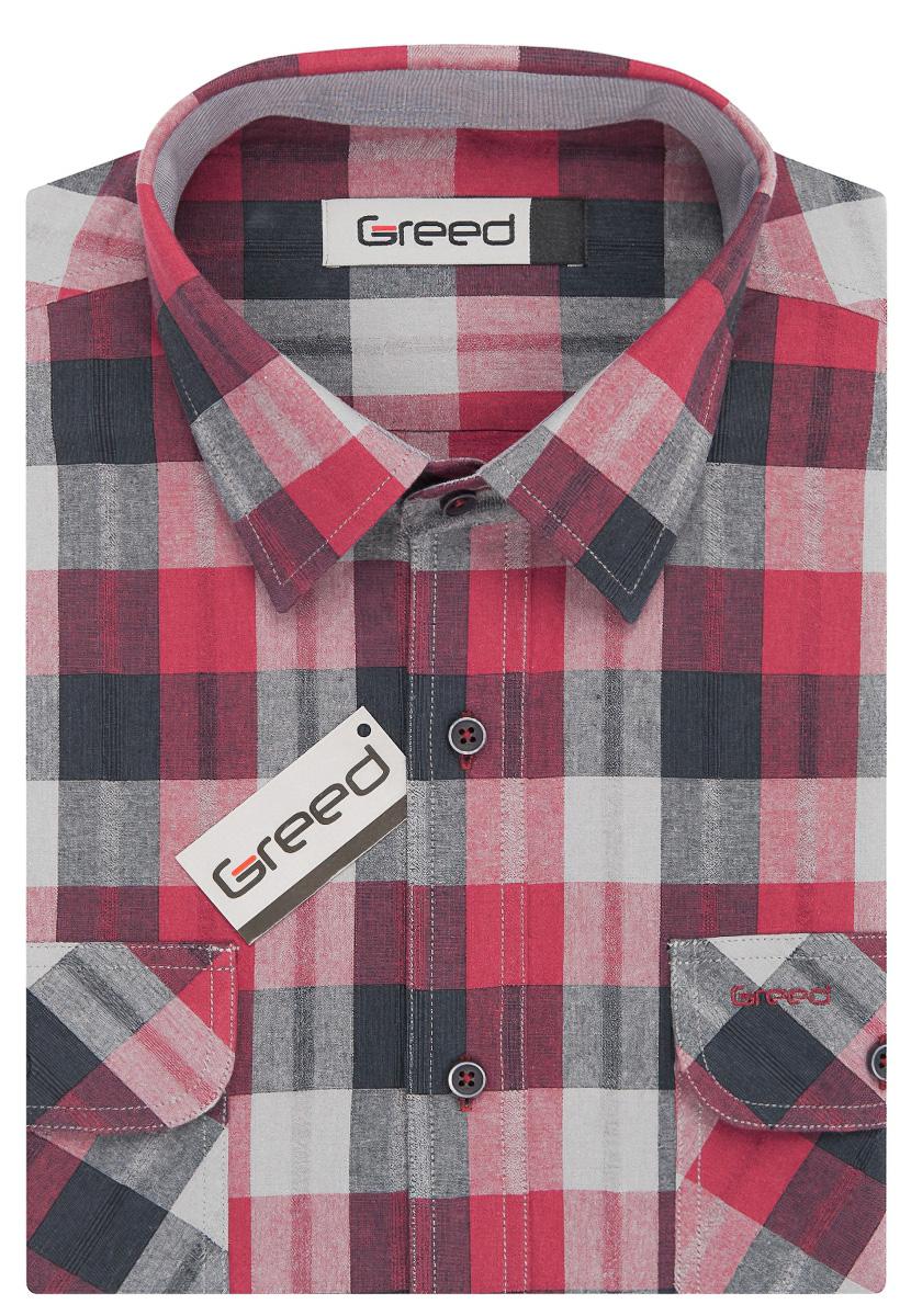 Pánská košile GREED sportovní červeno-šedá károvaná SD346, dlouhý rukáv