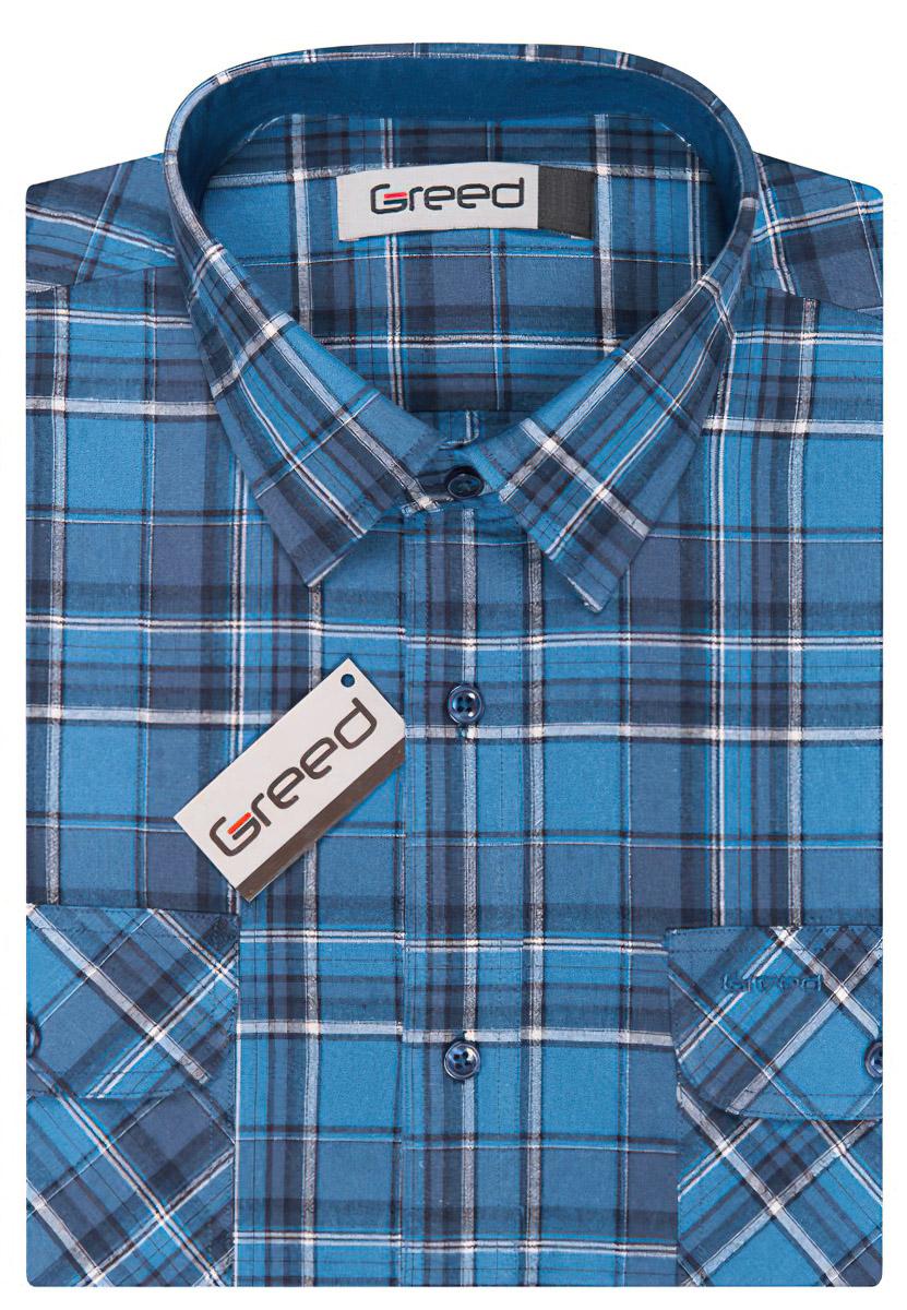 Pánská košile GREED sportovní modrá károvaná SD335, dlouhý rukáv