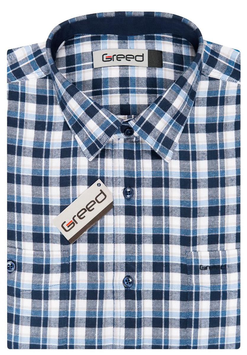 Pánská košile GREED flanelová modrá kostkovaná SDF337, dlouhý rukáv