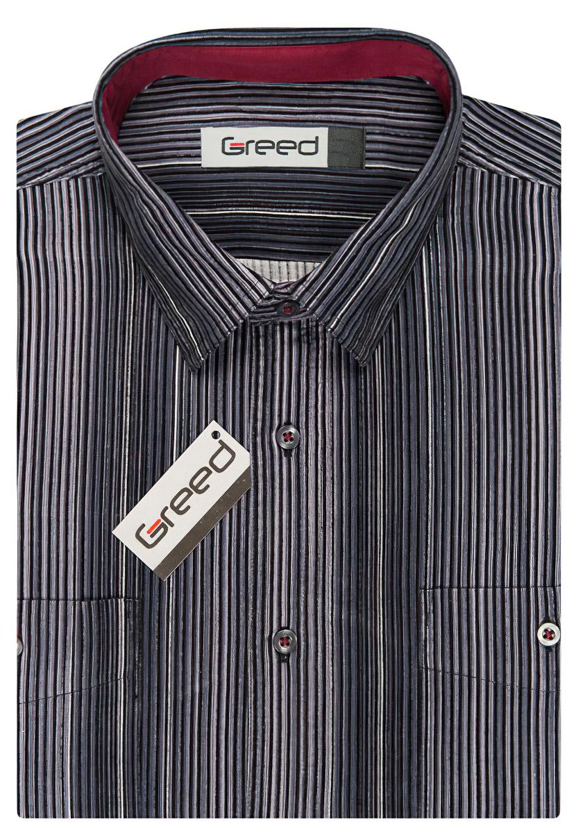 Pánská košile GREED manšestrová, šedá proužkovaná SDM340, dlouhý rukáv