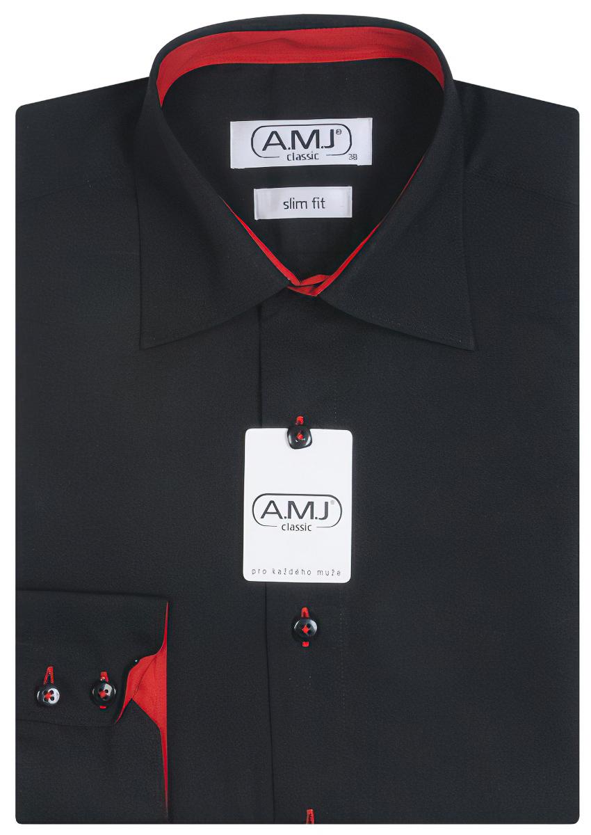 Pánská košile AMJ jednobarevná JDPSR017, černá, dlouhý rukáv, prodloužená délka, slim fit