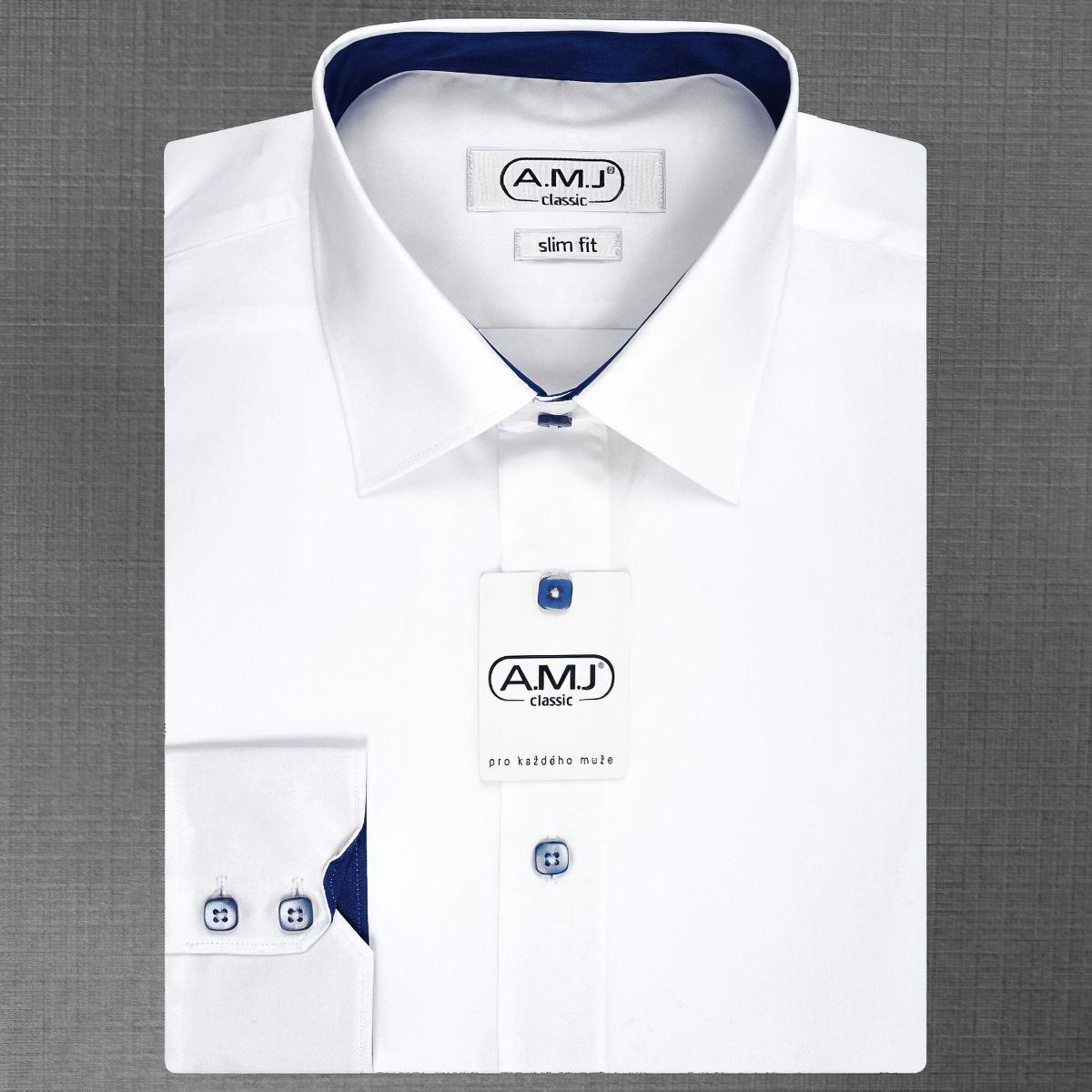 Pánská košile AMJ jednobarevná JDPSR018M, bílá, dlouhý rukáv, prodloužená délka, slim fit
