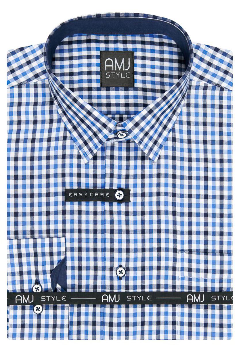 Pánská košile AMJ modrá kostičkovaná VDPSR868, dlouhý rukáv, prodloužená délka, slim fit