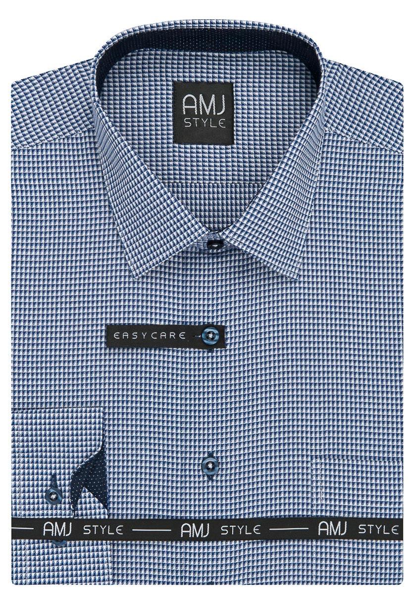 Pánská košile AMJ modrá čtverečkovaná VDPR844, dlouhý rukáv, prodloužená délka