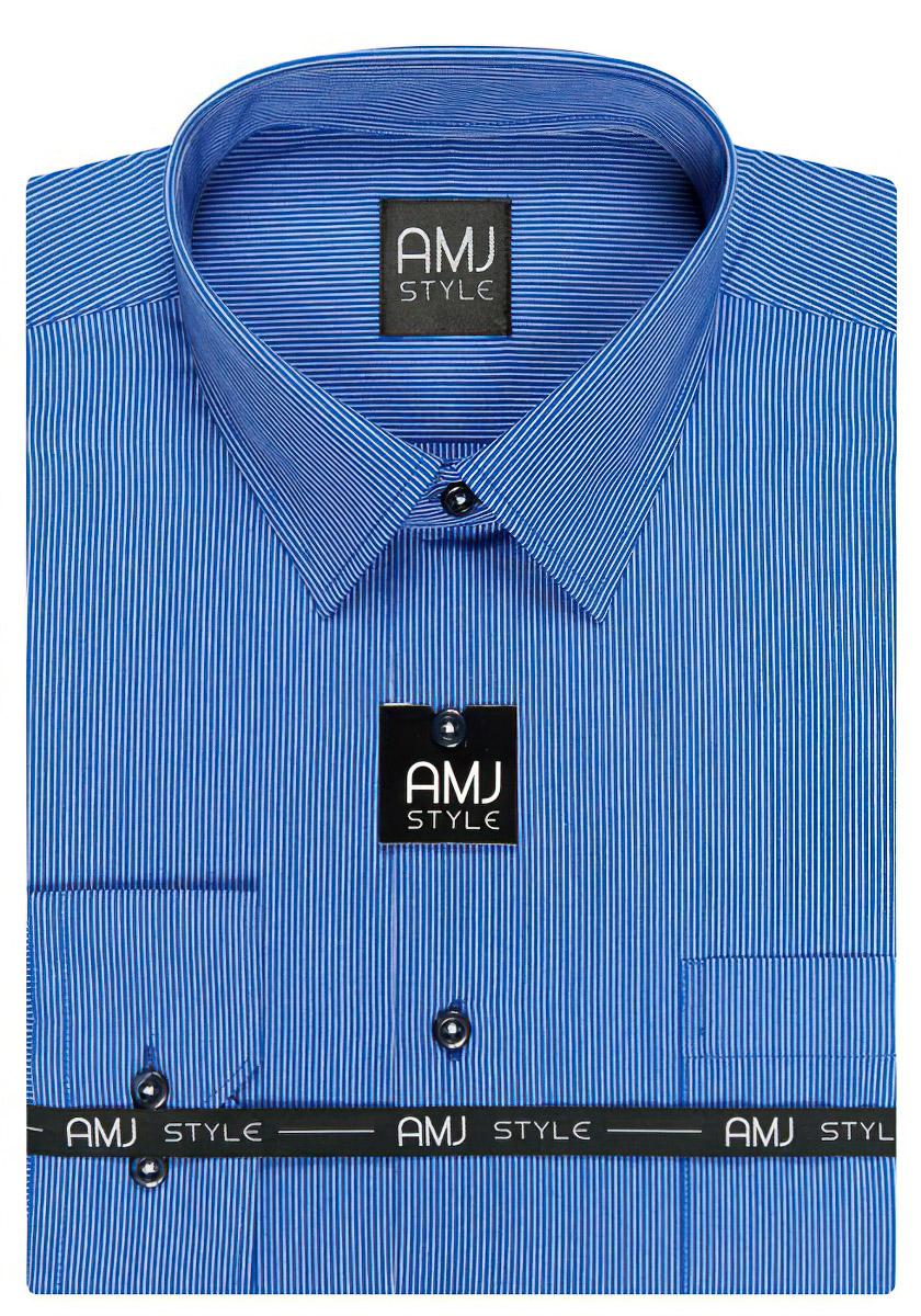 Pánská košile AMJ modrý proužek VDP870, dlouhý rukáv, prodloužená délka