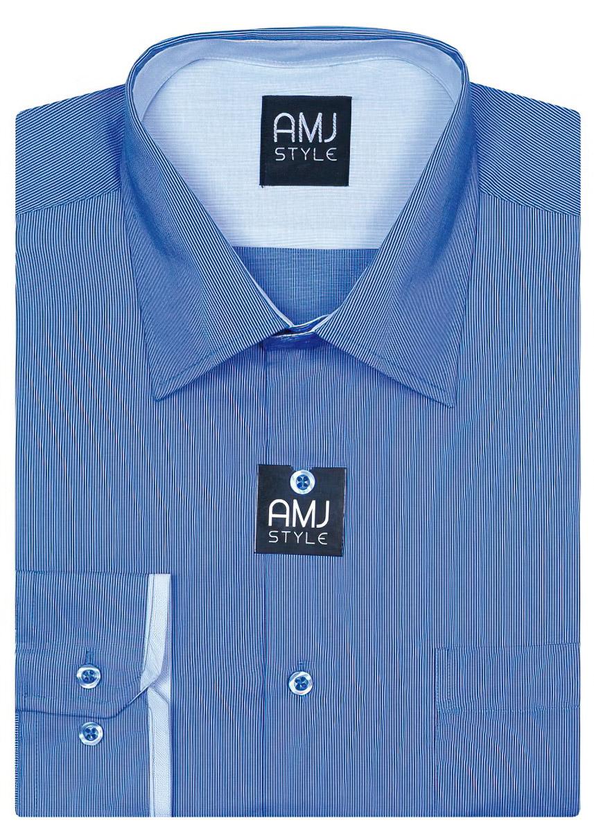 Pánská košile AMJ vzorovaná VDPR622, dlouhý rukáv, prodloužená délka