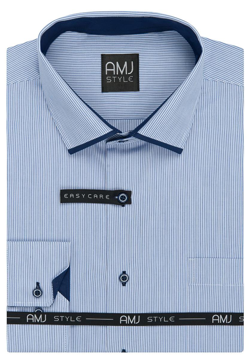 Pánská košile AMJ světle modrý proužek VDPZ921, dlouhý rukáv, prodloužená délka