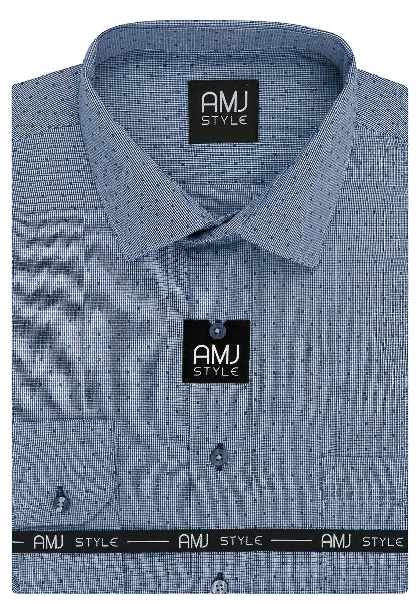 Pánská košile AMJ modrá kostičkovaná VD946 cfa82f01a8