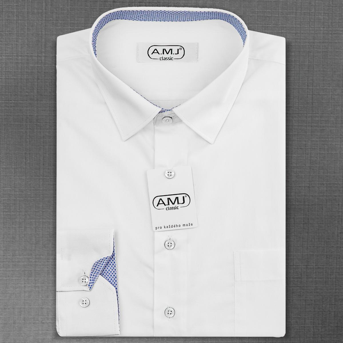 Pánská košile AMJ jednobarevná JDR18/19, bílá, dlouhý rukáv
