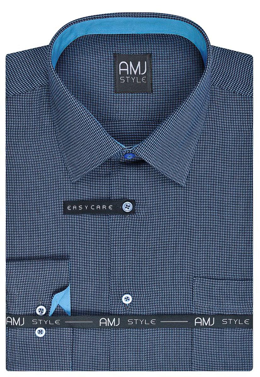 Pánská košile AMJ kostičkovaná VDPR763 dlouhý rukáv, prodloužená délka