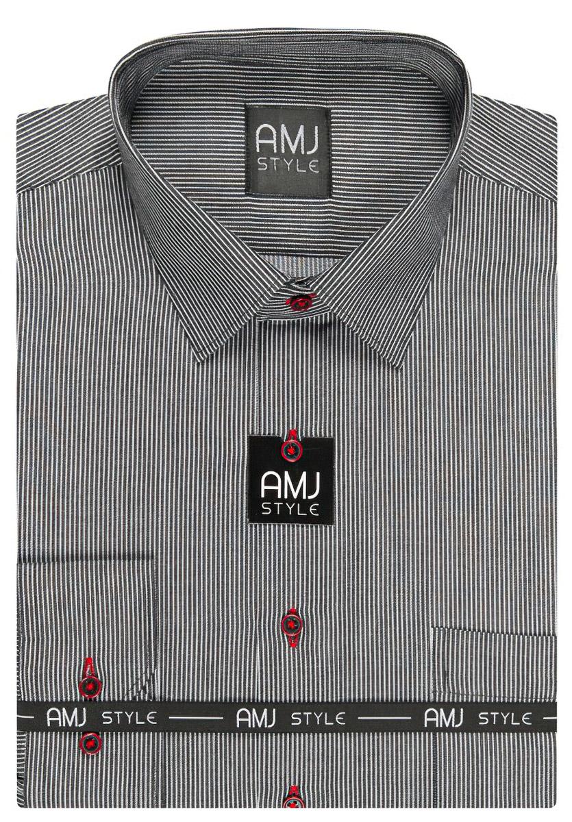 Pánská košile AMJ šedá proužkovaná VDP855, dlouhý rukáv, prodloužená délka