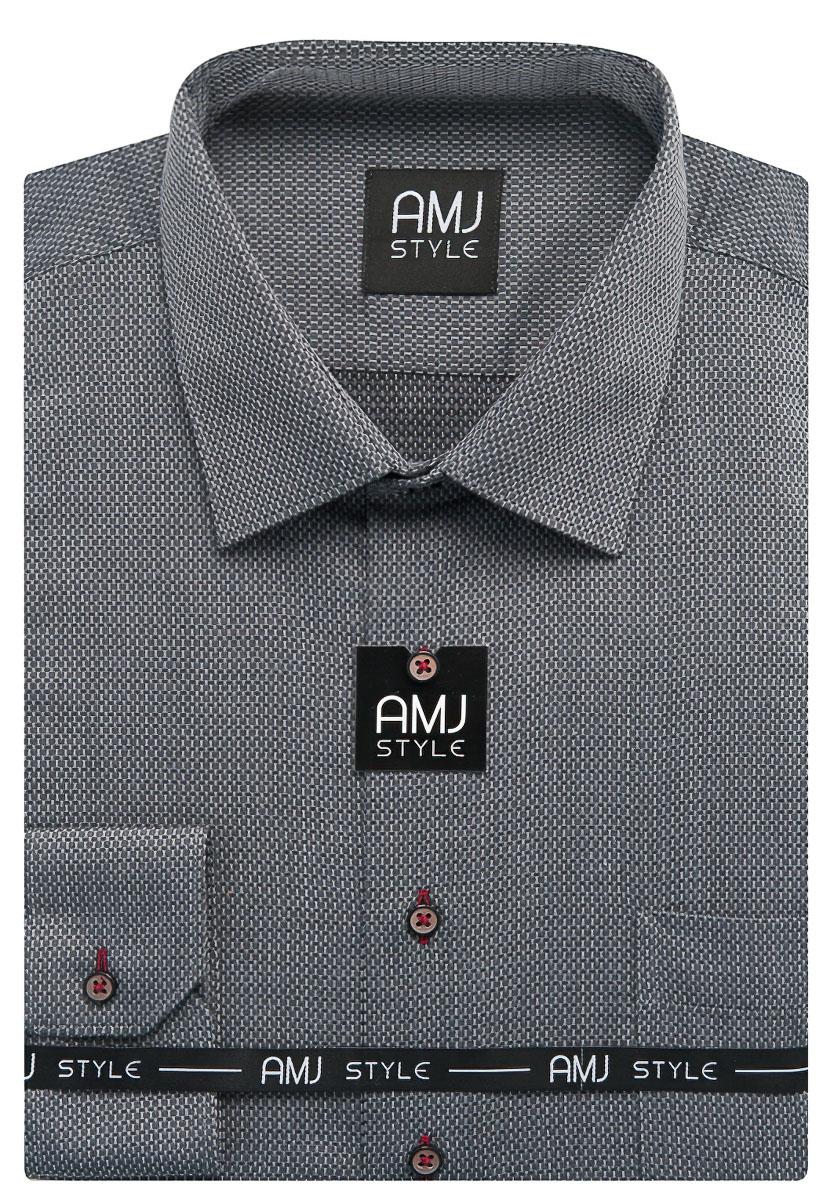 Pánská košile AMJ šedá vzorovaná VDP949, dlouhý rukáv, prodloužená délka