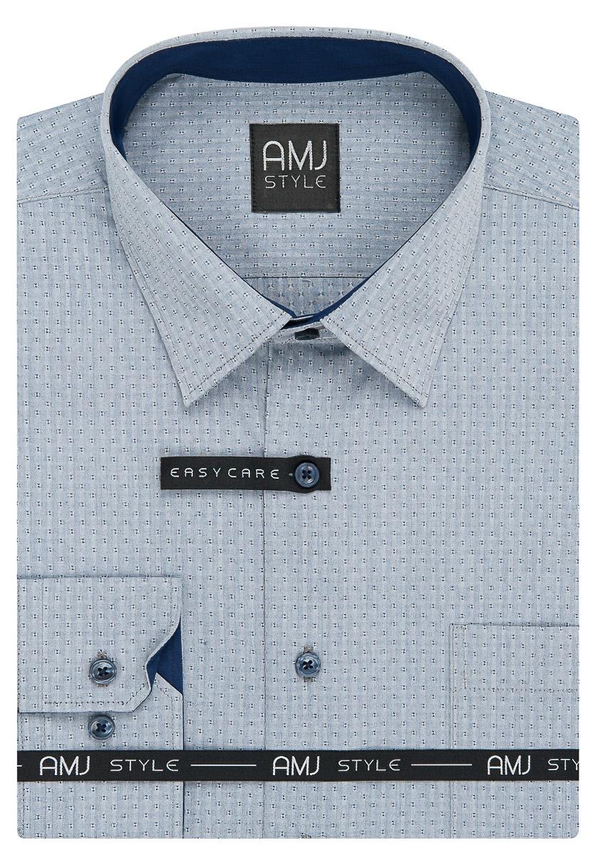 Pánská košile AMJ šedo-modrá kostičkovaná VDPSR942, dlouhý rukáv, prodloužená délka, slim fit