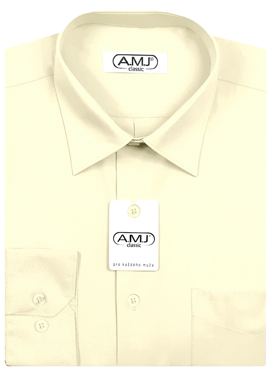 Pánská košile AMJ jednobarevná JD016, smetanová, dlouhý rukáv