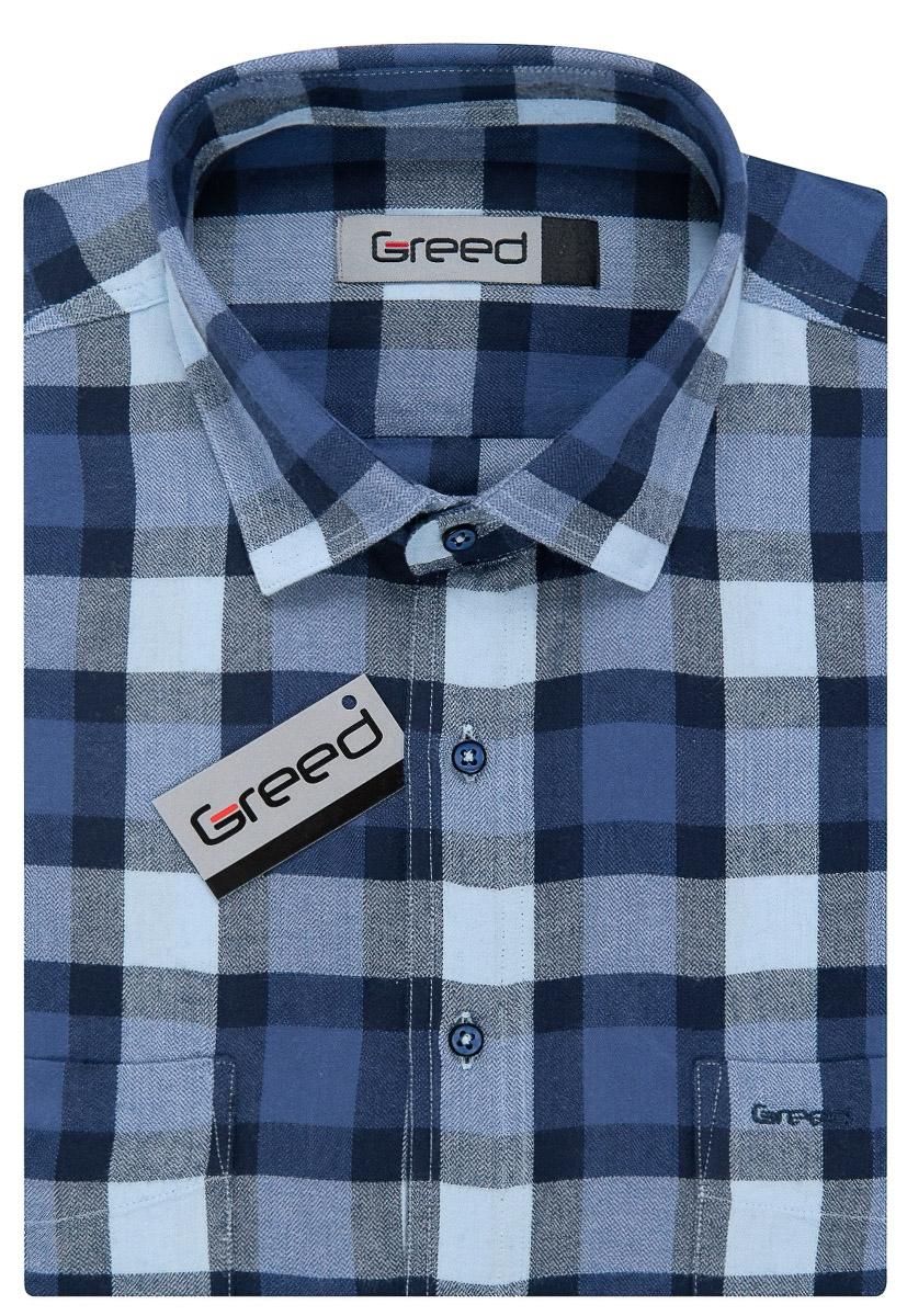 Pánská košile GREED flanelová modrá károvaná SDF359 b19ee3ca46