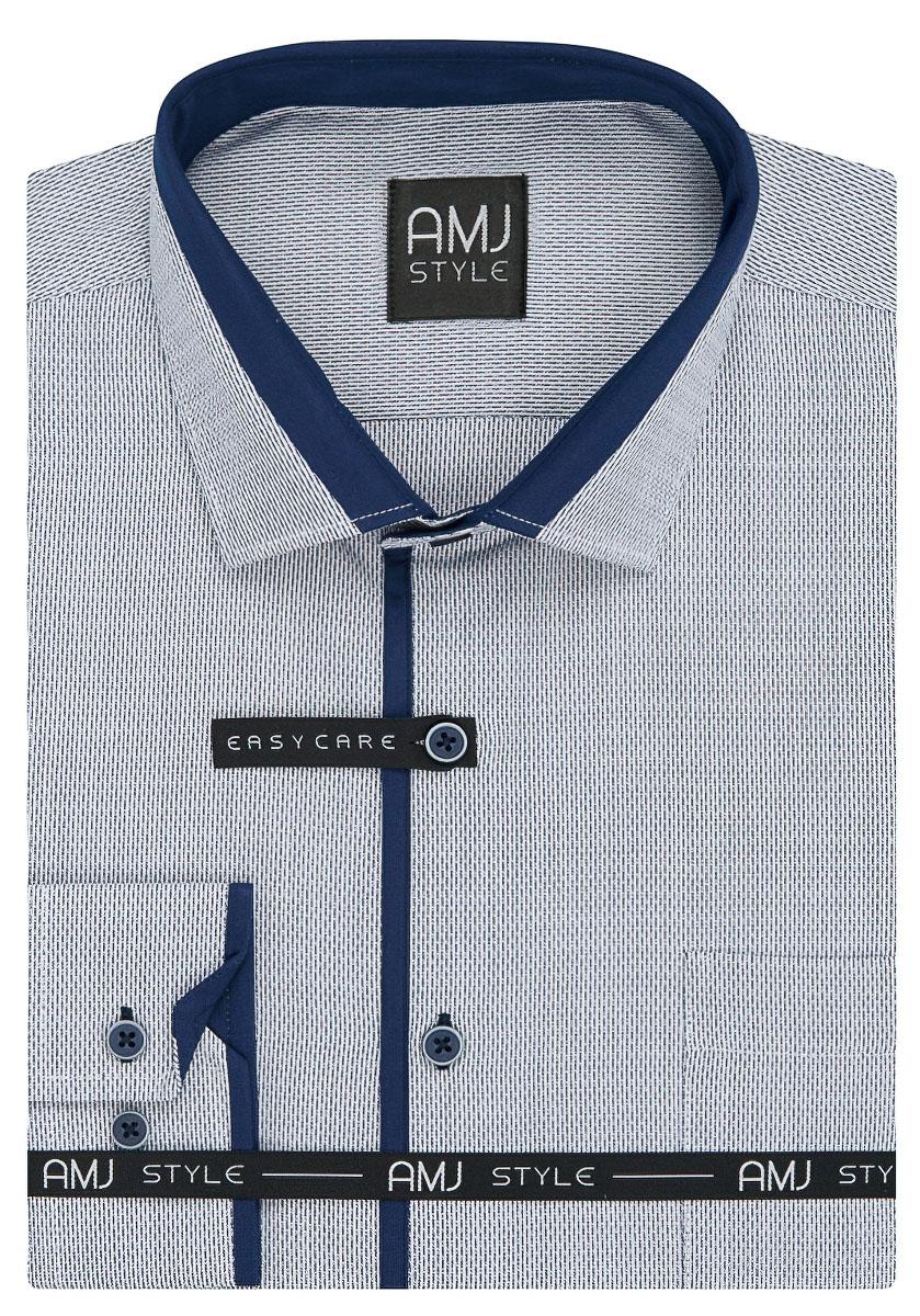 Pánská košile AMJ modrý čárkovaný proužek VDZ919, dlouhý rukáv