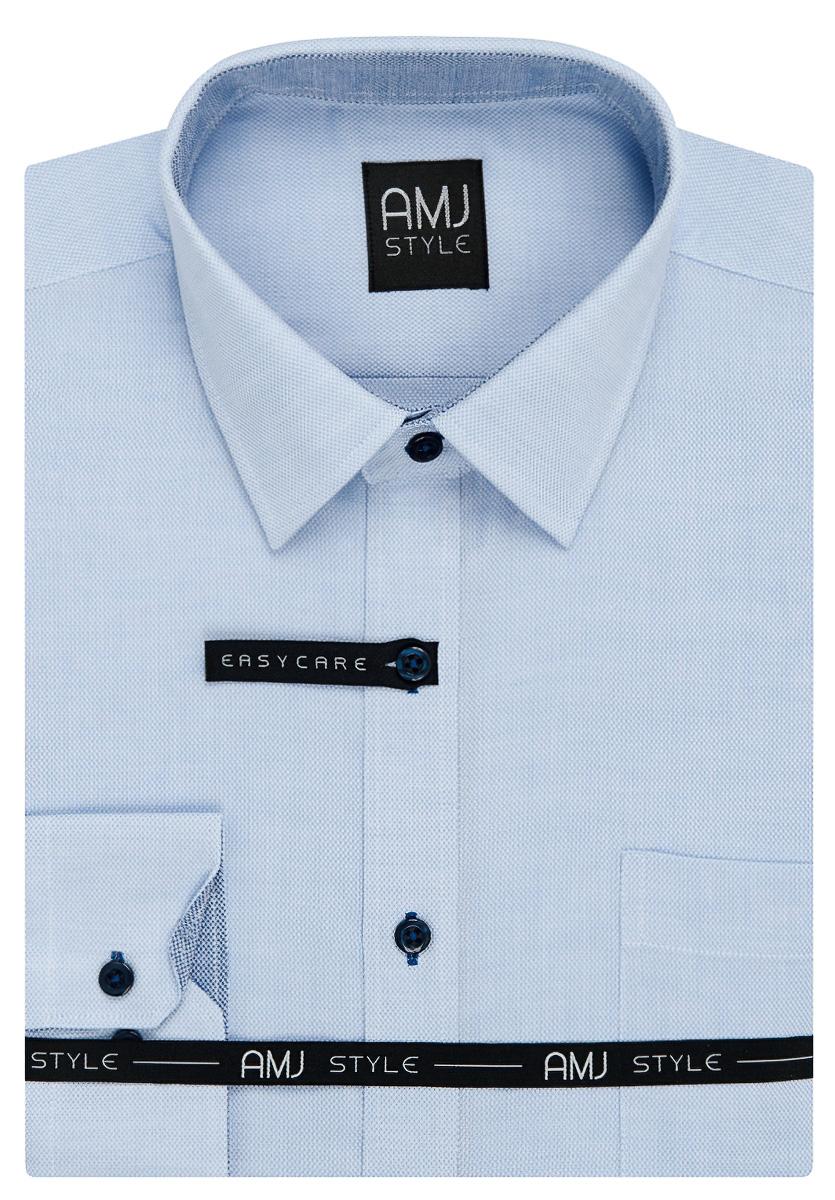 Pánská košile AMJ světle modrá síťovaná VDSR883, dlouhý rukáv, slim fit